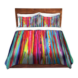 DiaNoche Designs - Duvet Cover Twill - Neon Abstract - Lightweight and super soft brushed twill Duvet Cover sizes Twin, Queen, King.  This duvet is designed to wash upon arrival for maximum softness.   Each duvet starts by looming the fabric and cutting to the size ordered.  The Image is printed and your Duvet Cover is meticulously sewn together with ties in each corner and a concealed zip closure.  All in the USA!!  Poly top with a Cotton Poly underside.  Dye Sublimation printing permanently adheres the ink to the material for long life and durability. Printed top, cream colored bottom, Machine Washable, Product may vary slightly from image.