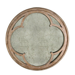Alhambra Mirror - A weathered poplar wood frame encircles a mottled round looking glass overlaid with an intricately cut and perfectly sanded piece of matching wood in the pattern of the Alhambra motif. A Spanish architectural motif made famous by Van Clef and Arpel's Jewelers adds perfect geometrical symmetry to the Alhambra Mirror.
