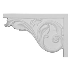 "Ekena Millwork - 11 3/4""W x 7 3/4""H x 3/4""D Large Acanthus Stair Bracket, Left - With the beauty of original and historical styles, decorative stair brackets add the finishing touch to stair systems.  Manufactured from a high density urethane foam, they hold the same type of density and detail as traditional plaster stair bracket products.  They come factory primed and can be easily installed using standard finishing nails and/or polyurethane construction adhesive."