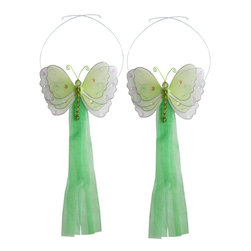 "Bugs-n-Blooms - Butterfly Tie Backs Green Multi-Layered Butterflies Tieback Pair Set Decorations - Window Curtains Holder Holders Tie Backs to Decorate for a Baby Nursery Bedroom, Girls Room Wall Decor - 5""W x 4""H Pink & White Multi-Layered Curtain Tieback Set Butterfly 2pc Pair - Beautiful window curtains tie backs for kids room decor, baby decoration, childrens decorations. Ideal for Baby Nursery Kids Bedroom Girls Room.  This gorgeous 3D butterfly tieback set is embellished with sequins, glitter and has a beaded body. This pretty butterfly decoration is made with a soft bendable wire frame & have color match trails of organza ribbons. Has 2 adjustable wires to wrap around the curtains; or simply remove & add your own ribbon for a personal & custom look. Visit our store for more great items. Additional styles are available in various colors, please see store for details. Please visit our store on 'How To Hang' for tips and suggestions. Please note: Sizes are approximate and are handmade and variances may occur. Price is for one pair (2 piece)"