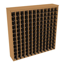 Wine Racks America - 144 Bottle Deluxe Wine Rack in Ponderosa Pine, Oak Stain - Store 12 full cases in this wine rack furniture style storage. This wood wine rack is designed to look like a freestanding wine cabinet. Solid top and side enclosures promote the cool and dark storage area necessary for aging your wine properly.