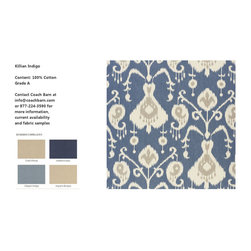 Killian Indigo Upholstery Fabric - CB Upholstered Collection - Killian Indigo is a 100% cotton floral damask fabric in blue and grey on an off white background. Coach Barn has proudly paired with a renowned manufacturer to create a collection of quality crafted, American-made upholstered furniture featuring a wide selection of fabrics and leathers.