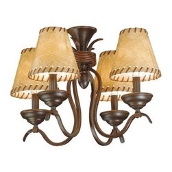 AireRyder - Yellowstone Burnished Bronze Light Kit with Faux Leather Shades - Ceiling Fan Light Kit. 20 in. W x 20 in. D x 14 in. H. Number of Bulbs: 4. Bulb Wattage: 40 WATT. Bulb Type: Candelabra Base. Can be installed as a Mini Chandelier. 20 in. W x 20 in. D x 14 in. H