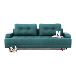 NYFU - Empire Sleeper Sofa - Turquoise - Bring an empire to your room! This sleeper sofa that opens in to a full bed is surprisingly spacious and insanely comfortable.