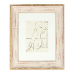 "Lost Art Salon - Original Howard Albert 1960-70s Heels & Legs Framed Etching - The musical, ""Chicago"", was all about the legs, and so is this original etching by an artist, Howard Albert, from that storied city. This vintage-framed art piece is just that kick of edge and chic that your wall needs."