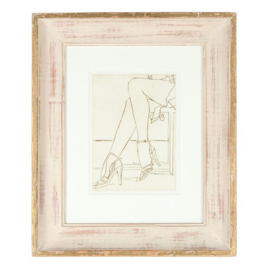 """Lost Art Salon - Original Howard Albert 1960-70s Heels & Legs Framed Etching - The musical, """"Chicago"""", was all about the legs, and so is this original etching by an artist, Howard Albert, from that storied city. This vintage-framed art piece is just that kick of edge and chic that your wall needs."""