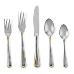 Gorham - Golden Ribbon Edge 5-piece Flatware Place Setting - Lend elegance to your table with this Golden Ribbon Edge 5-piece Flatware Place Setting,produced in 18/10 stainless steel. A great addition to your dinnerware,Gorham flatware is as fine in your hand as it looks on your table.