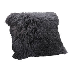Curly Fur Imports - Mongolian Lamb Fur Pillow - Charcoal - Our world famous dreamy pillows made from 100% real soft and fluffy Tibetan lamb fur on one side of the pillow, backed with faux suede backing. This pillow are fully lined on both the front and back to provide stability and longevity. You can fill the pillow with a stuffing material or pillow of your choice. It add a touch of softness, beauty, and warmth to any room. The fur is over 3.5 inches long. All colors are professionally dyed. Tibetan lamb fur is a luxurious fur that is incredibly soft, silky and curly.