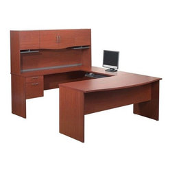 Bestar - Harmony U-Shape Executive Workstation with Storage Drawers - Features: -Peninsula, bridge and pedestal can be installed on left or right side.-Rubber strip between hutch and desktop to allow wires to pass through.-File drawers work with both legal and letter size files.-One lock secures both drawers.-Desk Type: Computer Desk; Executive Desk; Reception Desks.-Top Material: Laminate.-Base Material: Manufactured wood.-Stain Resistant: Yes.-Heat Resistant: Yes.-Design: U-Shape Desk; Bow Front Desk.-Distressed: No.-Collection: Harmony.-Eco-Friendly: Yes.-Cable Management: Yes.-Keyboard Tray: Yes.-Height Adjustable: Yes.-Drawers Included: Yes -Number of Drawers: 2.-File Drawer: Yes.-Drawer Glide Material: Metal.-Safety Stop: Yes.-Locking Drawer: Yes.-Core Removable Drawer Locks: No.-Ball Bearing Glides: Yes.-Drawer Handle Design: Drawer Pulls..-Pencil Drawer: No.-Jewelry Tray: No.-Cabinets Included: Yes -Number of Cabinets: 4..-Scratch Resistant: Yes.-Chair Included: No.-Casters Included: No.-Hutch Included: Yes.-Treadmill Included: No.-Cork Back Panel: No.-Modesty Panel: Yes -Modesty Panel Details: Half..-CPU Storage: No.-Built In Outlet: No.-Built In Surge Protector: No.-Light Included: No.-Finished Back: Yes.-Tipping Prevention: No.-Modular: Yes -Modular Details: This unit is reversible..-Application: Home Office; Professional.-Commercial Use: Yes.-Solid Wood Construction: No.-Wood Tone (Finish: Bordeaux): Medium.-Wood Tone (Finish: Chocolate): Dark.-Swatch Available: Yes.-Recycled Content: Yes -Remanufactured/Refurbished: No..Dimensions: -Overall Height - Top to Bottom: 61.9.-Overall Width - Side to Side: 88.6.-Overall Depth - Front to Back: 71.1.-Credenza: -Credenza Height- Top to Bottom: 30.4.-Credenza Width- Side to Side: 71.1.-Credenza Depth- Front to Back: 19.7..-Bridge: -Bridge Width- Side to Side: 30.4.-Bridge Depth- Front to Back: 19.7..-Drawer: Yes.-Shelving: Yes.-Desktop Height: 30.4.-Desktop Width - Side to Side: 71.1.-Desktop Depth - Front to Back