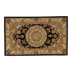 """Nourison - Nourison 2000 2233 2'6"""" x 4'3"""" Black Area Rug 53239 - In a design that might have once graced a European palace, a bold center medallion is given dramatic emphasis by its diamond-shaped black setting. The richly detailed golden ground adds to the regal effect of this spectacular rug."""