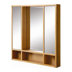 Decolav - Tyson 30 in. Medicine Cabinet in Maple - 9713 - Manufacturer SKU: 9713-MPL. Part of the Tyson bath furniture collection. Solid wood frame with maple finish. Designed to coordinate with 5247 vanity. Pre-assembled for quick and easy installation. 4 in. L x 30 in. W x 32 in. H. Installation InstructionsDECOLAV's Tyson Medicine Cabinet has an open storage cubby providing ample storage space. Two storage compartments concealed behind mirrored doors offers extra storage for all your bathroom necessities. With the simple lines and a solid shape the Tyson Collection gives your bathroom a modern city look and feel.