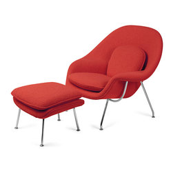 Knoll - Womb Chair and Ottoman | Smart Furniture - Why have an ordinary chair and ottoman when you can have an authentic 1948 Eero Saarinen creation? You get a genius design that starts with a polished chrome base and ends in a heavenly, molded-to-hold-you fiberglass shell in a rich crimson fabric. And the matching ottoman? Call it the quintessential frosting on the cake.