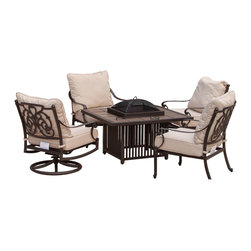 Great Deal Furniture - Monterey 5-piece Outdoor Fire Pit Chat Set - There's nothing more relaxing and carefree than sitting around a fire with your friends and family and the Monterey 5-piece Outdoor Fire Pit Chat Set is a casual yet elegant way to turn your patio or outdoor space into relaxation central. This handsome patio set is constructed from durable aluminum, designed to withstand years of inclement elements. The 2 swivel rocking armchairs along with 2 stationary armchairs feature an ornate scrollwork pattern and are fitted with weather-resistant Sunbrella fabric cushions, which withstand harsh weather conditions better than traditional polyester.