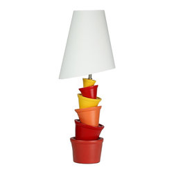 Cortesi Home - Balance Act Table Lamp - The Balance Act table lamp is a humorous and playful way to accent any space. It features quirky shapes in a teeter-toter design. Bright colors provide visual interest and the final touch is an asymmetrical shade. Great for a kids room! UL approved. ON/OFF switch on  plug-in cord. 40W Bulb Max (not included)