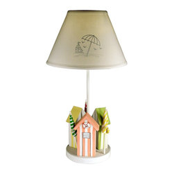 "Lamps Plus - Coastal Cabana 24"" High Table Lamp With Cloth Shade - A nod to the warm weather the Cabana table lamp features three miniature striped cabanas in orange yellow and green finishes. Buoy and umbrella accents add character to the small cabanas. A beautiful cloth empire shade with beachy details completes the design. From Judith Edwards Designs. Wood construction. Beach inspired design. Cloth empire shade. Push through switch. Takes one 75 watt standard bulb. 24"" high. Shade is 6"" across the top 13"" across the bottom 9"" on the slant.  Beach inspired design.   Wood construction.   Hand painted base.  Cloth empire shade.   Push-through on-off switch.   Takes one 75 watt standard bulb.   24"" high.   Shade is 6"" across the top 13"" across the bottom 9"" on the slant."