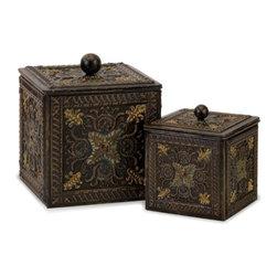 "IMAX - Arabian Nights Lidded Boxes - Set of 2 - Arabian Nights metal lidded boxes, set of two Item Dimensions: (6.5-9.25""h x 5.75-8""w x 5.75-8"")"