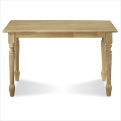 """International Concepts - International Concepts Solid Casual Dining Table in Natural Brown Finish - International Concepts -Dining Tables -T013048 -The International Concepts Solid 30"""" x 48"""" Wood Top Table (Natural) has a simple country style that will be at home anywhere in your living space. It features gently rounded corners turned legs and an overhang top. This charming dining table has a casual appeal that's easy to look at."""