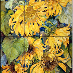 The Tile Mural Store (USA) - Tile Mural - Cascading Sunflowers - Kitchen Backsplash Ideas - This beautiful artwork by Joanne Porter has been digitally reproduced for tiles and depicts a bunch of cascading sunflowers.  With our enormous selection of tile murals of plants and flowers you can bring your kitchen backsplash tile project to life. A decorative tile mural with plants and flowers is an impressive kitchen backsplash idea and decorative flower tiles also work great in the bathroom. Add splashes of color and life to your tile project with images of flowers on tiles and tiles with pictures of plants.