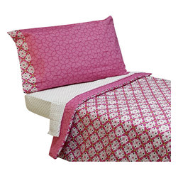 Crown Crafts Infant Products - Kaleidoscope Pink Flowers Toddler Bedding Comforter Sheets - FEATURES:
