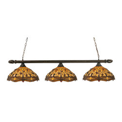 """Toltec - Toltec 383-BRZ-946 Bronze Finish 3-Light Bar with Swirl Ends - Toltec 383-BRZ-946 Bronze Finish 3-Light Bar with Swirl Ends with 16"""" Amber Dragonfly Tiffany Glass"""
