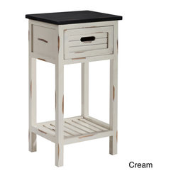 None - Gallerie Decor Shoreham One Drawer Accent Table - With solid wood construction this accent table has a clean cottage look highlighted by groove design drawers and open recess handles. Distressed detail and finish creates an interesting look in combination and contrast with deeper walnut finish tops.
