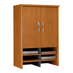 """Bush Business - 30 in. Wide Storage Hutch w Concealed Area - The Series C 30 inch Wide Storage Hutch with Concealed Area is designed to rest upon our 30 inch Storage Cabinet, providing vastly increased open and concealed storage space.  This stylish hutch features 2 adjustable interior shelves and 6 supply alcoves. * Sits atop Storage Cabinet 30"""" for additional storage capacity. PVC edge banding resists bumps and collisions. Two adjustable shelves in concealed area provide storage flexibility. Six spaces for work-in-process or supplies. European-style, self-closing, adjustable hinges. 29.449 in. W x 15.354 in. D x 42.992 in. H"""