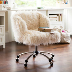 Furlicious Wingback Desk Chair - Oh, hi, fuzzy chair. Your only purpose in life is to thwart my study efforts. And you know what? I'm OK with that. Seriously, I would read War and Peace if I could just sit in this chair while reading (I really meant sleeping).
