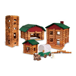 Knex - Lincoln Logs Collector's Edition Homestead Building Set - 869 - Shop for Building Sets from Hayneedle.com! Saddle up at the K'NEX Lincoln Logs Collector's Edition Homestead Building set and ride off onto the dusty trail with the biggest Lincoln Logs set ever made! With over 330 parts including real wood logs your child be able to create just about anything that comes to mind. Your child will love building his very own homestead straight out of the Wild West complete with a frontiersman figure two horses and a buildable covered wagon that really moves! In addition to hundreds of classic richly stained wood logs the Collector's Edition Homestead also includes colorful accessories to bring this scene to life including a roof door door frame flag as well as a friendly cowboy and his faithful horse.All of these pieces come conveniently packaged in a beautiful silver-accented tube that can be used for quick and durable storage and easy portability. The open-ended design of this building set encourages the development of several key skills; when your child is building with Lincoln Logs he's also building fine motor skills such as hand-eye coordination cognitive skills such as problem-solving and decision-making and of course imaginative and creative skills. The solid wood construction ensures a long lifespan for this playroom essential and the pieces are splinter-proof and precision cut into different lengths with notches at the ends ensuring that the logs are not only safe but easy to build with. This Lincoln Logs Building Set is recommended for builders ages 3 years and up. Additional Features Wood pieces are splinter-proof Helps develop several key skills in your child Arrives in a beautiful storage tube for easy cleaning About K'NEXK'NEX builds worlds kids love! In 1990 K'NEX founder Joel Glickman came up with the idea for a rod and connector building system now known as K'NEX. In 1992 his dreams became reality and a company was born. K'NEX added wheels pulleys 