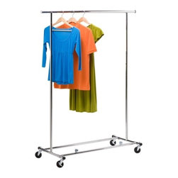 Collapsible Chrome Garment Rack - Honey-Can-Do GAR-01304 Collapsible Commercial Garment Rack with Wheels, Chrome. Set of 4 casters make portability a breeze. 2 locking casters keep it in place. Constructed from durable stainless steel. Garment rack is collapsible for storage when not in use. Easy to setup and disassemble. Expands to 74-inches wide and 66-inches tall.