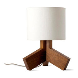 "Blu Dot - Blu Dot Rook Lamp - You don't need to be skinny to be beautiful. This little light of ours is, unapologetically, a bit chunky and we think it's pretty hot. Solid Walnut with an off-white linen shade and gray 80"" cloth cord. 100-watt max. Solid walnut base, Linen shade, 80"" cloth-covered cord, lb Maximum 100 watt incandescent or 23 watt CFL, Light switch located on socket"