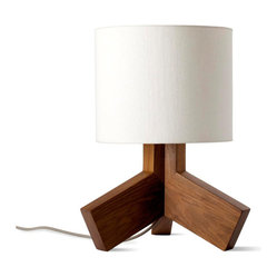 Blu Dot - Blu Dot Rook Lamp - You don't need to be skinny to be beautiful. This little light of ours is, unapologetically, a bit chunky and we think it's pretty hot. Solid walnut with an off-white linen shade and gray 80-inch cloth cord. 100-watt max.