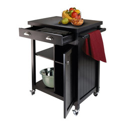 Winsome - Winsome Timber Kitchen Cart with Wainscot Panel in Black Finish - Winsome - Kitchen Carts - 20727 - Timber Kitchen Cart with wainscot panel finished in Black compliments your kitchen.