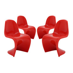 "Modway - Slither Dining Side Chair Set of 4 in Red - Sleek and sturdy, rock back and forth in comfort with this injection molded marvel. Constructed from a single piece of strong ABS plastic, the ""s"" shaped Slither chair can be found in many fashionable settings. Perfect for dining areas in need of a little zest, the design is versatile, fun and lively. Surprisingly cushy, choose from a selection of vibrant colors that won't fade over time. Slither is also perfect for spaces short on room. Set Includes: Four - Slither Dining Chair. Tough ABS Construction; Stackable up to 4 High; Ergonomically Designed; Set of Four Chairs; No Assembly Required; Overall Product Dimensions: 23""L x 19""W x 33""H; Seat Height: 18""H"