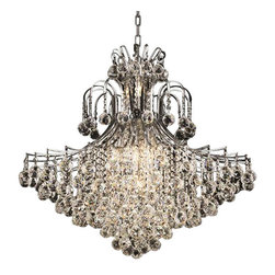 """Contour 15 Light 31""""x35"""" Crystal Chandelier Chrome Metal Authentic High Quality - This crystal chandelier adds sparkle and style to any space. The Contour collection of chandeliers focuses great emphasis on the shape and contours of the arms from which the crystals hang. These crystal masterpieces project a symmetry and richness of the body dripping with large spherical multi-faceted crystal orbs. Each crystal sphere catches the light and refracts it in a rainbow of colors. The dense crystal distribution throughout the frame gives this chandelier an impressive and dynamic presence that will enhance any decor. Transform your space with this beautiful chandelier and watch your room get showered with dazzling light! The polished chrome finish provides a chic and modern appeal and reflects the natural beauty of the crystals."""