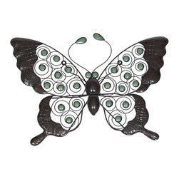 None - Glow in the Dark Butterfly Wall Art - In a realistic pose,this attractive and decorative butterfly will look stunning on any wall in your backyard. With green glow in the dark beads this butterfly will look fantastic day or night,and add some style to your garden.