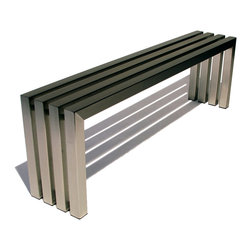 "Sarabi Studio - Linear Bench in Brushed Stainless Steel, 58"" Length - Handcrafted by Sarabi Studio in Austin, TX"