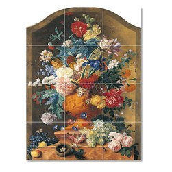 Picture-Tiles, LLC - Van Flowers In A Terracotta Vase Tile Mural By Jan Huysum - * MURAL SIZE: 48x36 inch tile mural using (12) 12x12 ceramic tiles-satin finish.