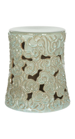 Safavieh - Sassari Garden Stool - Intricately detailed, the Sassari Cloud garden stool is crafted of high fired ceramic with an artful reactive aqua finish. Used in Oriental gardens for centuries as a table or gazing perch, its stylized swirling clouds add texture and visual interest to a space.