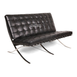 IFN Modern - Barcelona Loveseat-Black - 100% Italian Leather - Our Barcelona Reproduction loveseat is a perfect complement for the rest of our Barcelona Reproduction collection. This design is inspired by Mies Van Der Rohe and Lilly Reich whom displayed their products to the world at the German Barcelona Reproduction for the 1929 exhibition. The Barcelona Reproduction loveseat is perfect for condominiums, reception seating, and other seating where a full sofa would be too large.â— Product is available in 100% Full Grain Italian Leather or 100% Full Grain Aniline Leatherâ— Available in Multiple-Colorsâ— The Loveseat cushions are made of high density foamâ— Stainless steel frame is designed for stronger support and does not chip, and rustâ— Leather square panels are cut and sewn together individually for superior detail and qualityâ— Cushions are secured in place by heavy grade leather saddle strapâ— The seat cushion is cut at an angle to complement the angle of the frame and provide a flush lookâ— Product size is true to the originalâ— Lock stitch method was used to ensure piping stays in placeâ— Bottom of seat cushion has a mesh cover to allow maximum airflow this allows the cushion to breathe better and also conserves the shape of the cushion for a long lifetime useâ— Cushion foam is wrapped in Dacron Synthetic Silk underneath the leather upholsteryâ— Leather support straps for the following leathers will use a similar but not identical shade for strap color: Aniline White, Aniline & Italian Ivory, Vintage Auburn, Vintage Copper brown and Vintage Almond