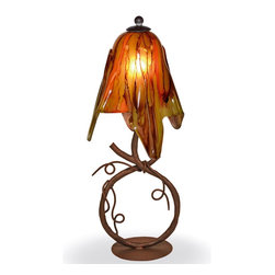 Mathews & Company - Wrought Iron San Saba Table Lamp with Small Glass Shade - Our Rustic style wrought iron San Saba Table Lamp with Small Glass Shade is a beautiful piece of hand-crafted home furniture. Lamp is UL Approved and pre-wired, all you have to do is add a light bulb and plug it in to start enjoying its warm light. Pictured in Verde Blush shade and Aged Rust finish.