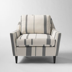 Everett Armchair, Variegated Stripe Print, Graphite - I love the modern take on stripes in this cozy chair. It's anything but traditional. I see it tucked in a corner right next to a bookcase, but I'd especially love to see it in my house.