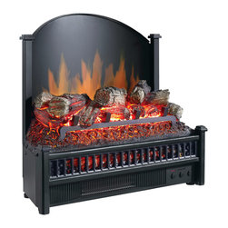 Electric Fireplace Logs Heater With LED Glowing Ember Bed & Fireback - The Pleasant Hearth LI-24 Electric FIreplace Logs Heater is an efficient and beautiful way to heat your indoor living space. This heater features a multi-setting heat source, randomly glowing embers and a realistic flame projection on the cast-iron fireback. The LI-24 comes equipped with a 4,600-BTU forced air heater that heats a maximum of 400-square feet and adjusts to (5) temperature settings for your comfort. A multi-functional remote control turns the unit on and off, adjusts the temperature and flame projection on the cast iron fire back. This environmentally friendly unit plugs into a standard 120-volt outlet and uses highly efficient LEDs to bring the ambience of a cozy fire to any room without dangerous emissions, soot or smoke. This unit can be installed in most existing fireplaces or masonry. The LI-24 measures 10.75-inches (W) by 21.75-inches (H) by 23-inches (D) and weighs 23.10-pounds. This product is CSA certified and meets all applicable standards. Pleasant Hearth Brand promises the highest quality fireplace heaters, electric stoves, decorative logs and fireplace glass doors. Pleasant Hearth branded products are made of premium materials to build easy to assemble products that exceed the strict industry standards for safety and quality. The Pleasant Hearth LI-24 Electric Log Heater with Cast-Iron Fireback comes with a 1-year limited warranty that protects against defects in materials and workmanship. GHP Group, Inc. is an industry leader in manufacturing electric fireplaces, fireplace glass doors, fireplace accessories, electric log sets, portable heating products and barbecue grills. All of GHP's products have gone through rigorous testing to ensure that they meet and exceed the industry standards for quality, durability and function.