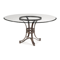 "Bassett Mirror Company - Bassett Mirror Tempe 60 Inch Round Glass Dining Table w/ Metal Base - Round Glass Dining Table w/ Metal Base belongs to Tempe Collection by Bassett Mirror Company Round Metal Dining Base w/ 1/2"" Clear Eurogee Top Table Base (1) , Table Top (1)"