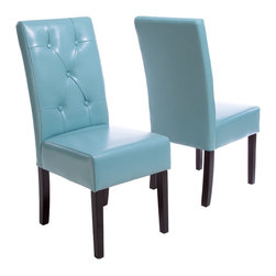 Great Deal Furniture - Alexander Teal Blue Leather Dining Chair (Set of 2) - Add a bold pop of color to your home with this set of leather chairs. Upholstered in bright teal blue bonded leather, each chair features a button-tufted back and dark wood legs. They're stylish enough to use anywhere — the kitchen, dining or living room. It's up to you.
