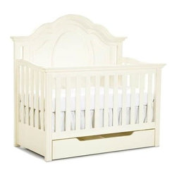 LC Kids - Enchantment Convertible Crib w Drawer in Antique Off-White Finish - Even though your baby will grow up fast, the Enchantment convertible crib will be right there through every step of the way.  Lovely traditional style crib features a lovely scalloped cameo back that becomes the bed's headboard when converted.  A handy pull-out drawer below is ideal for storing bed linens, clothes, toys, and more.  For added versatility, add your choice of the daybed kit or full bed extension kit for even more options. The crib was manufactured in 2011 or later and complies with the new federal safety standards issued by the CPSC. Enchantment Collection. Includes convertible crib & drawer. Select hardwood solids. Assembly required. Crib: 33 in. L x 64 in. W x 54 in. H (150 lbs.). Drawer: 24 in. L x 50 in. W x 8 in. H (22 lbs.). Cribs are designed with stationa. Crib Safety: ivgStores cares about the safety of the products we sell especially for your new little one. We work closely with our manufacturers and only carry those items which meet or exceed federal and state laws. If you are considering buying a new crib or even using a previously owned or heirloom crib, we recommend you visit  cribsafety.org to learn more about crib safety.