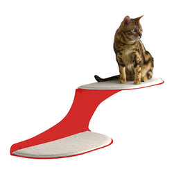 Cat Clouds Cat Shelf in Red - Two fluffy, white faux sheepskin pads float like clouds along your wall, offering the perfect landing pads for your feline. He'll love the softness of the pads and the lofty height overlooking the scene; you'll love how the shelves keep him off your furniture.