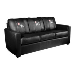 Dreamseat Inc. - Baseball Pitcher Xcalibur Leather Sofa - Check out this incredible Sofa. It's the ultimate in modern styled home leather furniture, and it's one of the coolest things we've ever seen. This is unbelievably comfortable - once you're in it, you won't want to get up. Features a zip-in-zip-out logo panel embroidered with 70,000 stitches. Converts from a solid color to custom-logo furniture in seconds - perfect for a shared or multi-purpose room. Root for several teams? Simply swap the panels out when the seasons change. This is a true statement piece that is perfect for your Man Cave, Game Room, basement or garage.
