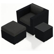 Modern Outdoor Lounge Sets Urbana 3 Piece Outdoor Club Chair Set, Charcoal Cushions