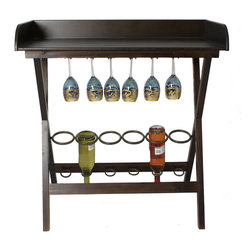 ecWorld - Urban Designs 6-Bottle Wooden Wine Rack and Portable Bar - Having our smart rack on hand makes entertaining easy in smaller spaces. It holds food and chilled wine up top and glasses and more wine below.