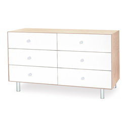 OEUF - Merlin 6 Drawer Dresser with Classic Base in Birch/White - The Merlin 6 Drawer Dresser is a perfect fit with any of Oeuf's furniture collections, from Classic to Perch. With its clean lines and quality construction, this dresser will be loved by parent and kid alike. Six deep drawers provide plenty of storage room, and the modern and simple styling make this dresser a piece that looks good in a bedroom or a nursery. This dresser is built to last and will grow with your child for many years to come.